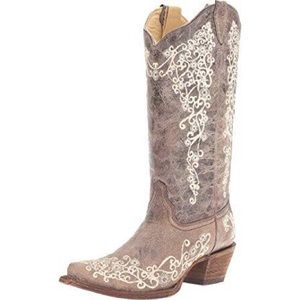rare CORRAL embroidered tan cowboy boots